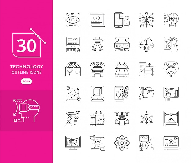 Stellen sie vektorlinie ikonen in zukünftiger technologie des flachen designs ein