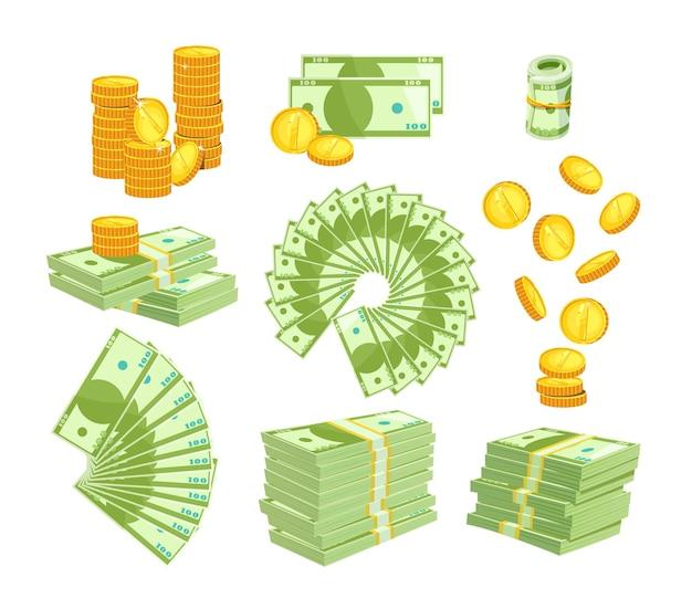 Stellen sie verschiedene arten von geld auf weiß ein
