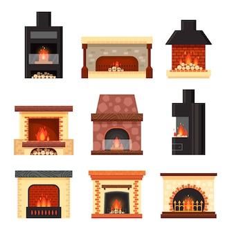 Stellen sie verschiedene bunte hauskamine mit feuer und brennholz lokalisiert auf weißem hintergrund ein. gestaltungselemente für rauminnenraum im flachen stil - lagerillustration