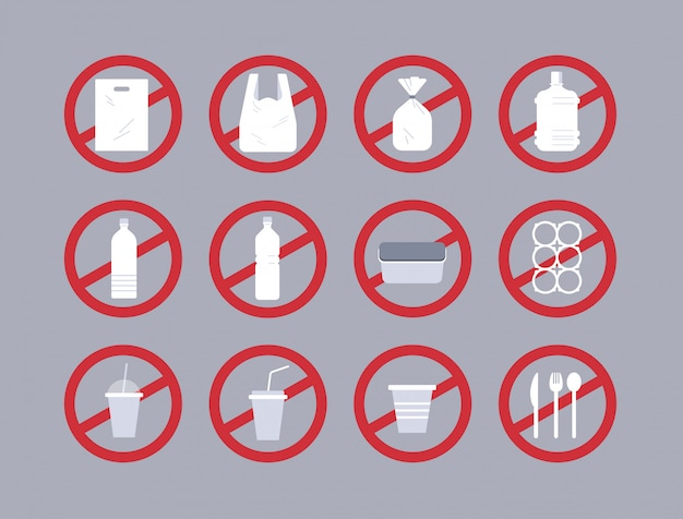 Stellen sie verschiedene einwegobjekte aus kunststoffsammlung ein. verschmutzungsrecycling-ökologieproblem speichern sie das erdkonzept-verbotsschild flach horizontal