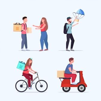 Stellen sie verschiedene express-lieferservice-online-shopping-konzepte ein. sammelkuriere liefern einkäufe in voller länge