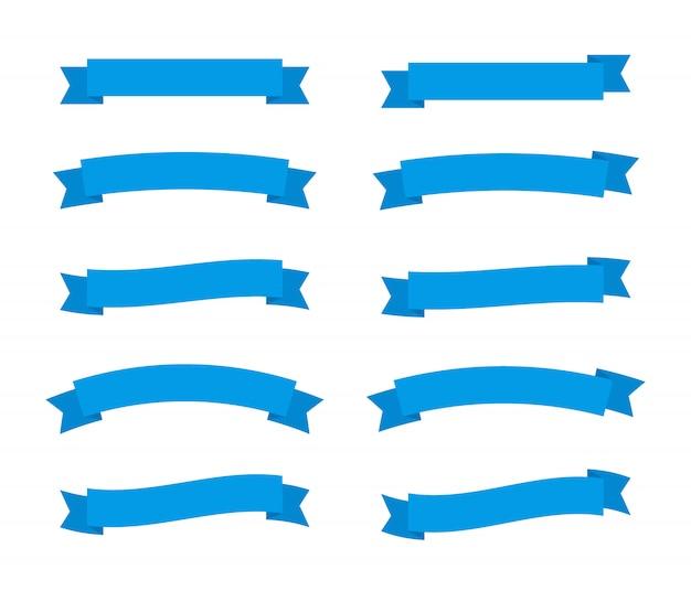 Stellen sie verschiedene flache bänderfahnen ein, die auf weißem hintergrund isoliert werden. blaue streifen im origami-stil