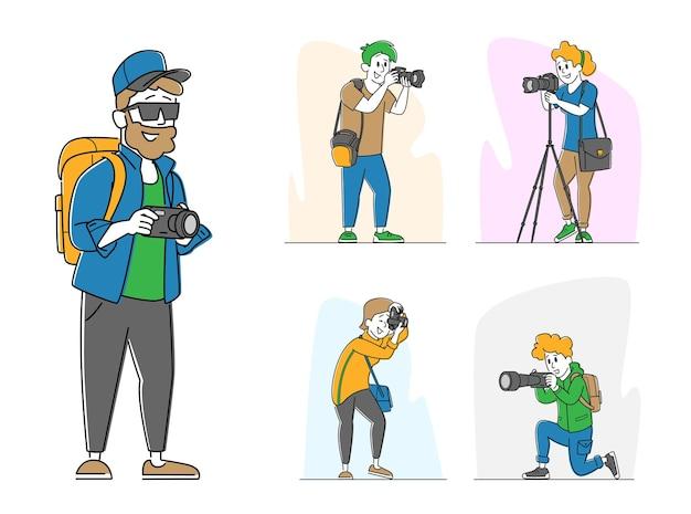 Stellen sie verschiedene fotografen mit fotokamera ein