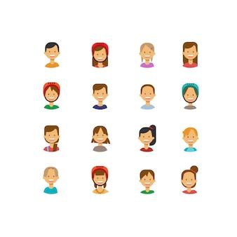 Stellen sie verschiedene nette kinder stellen glückliches jungenmädchenporträt auf der weiblichen männlichen avataravektorillustration des hintergrundes gegenüber