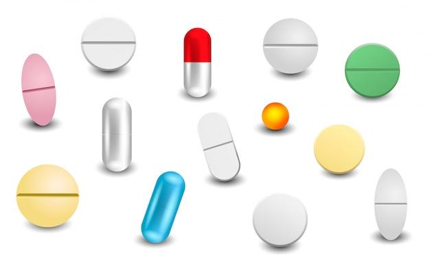 Stellen sie verschiedene realistische pillen lokalisiert ein