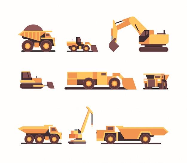 Stellen sie verschiedene schwere gelbe industriemaschinen kohlebergwerk
