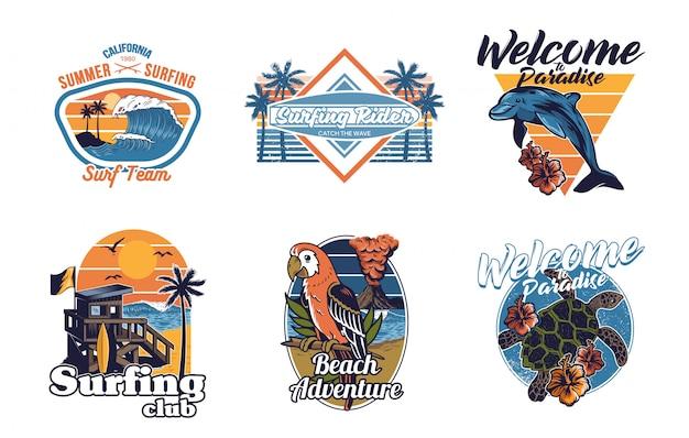 Stellen sie vintage-drucksammlung sommer hawaii kalifornien paradies surfen retro ikonen logo mit meer ozean tiere welle ansicht palmen reise strand surfer für t-shirt aufkleber patch mode illustration
