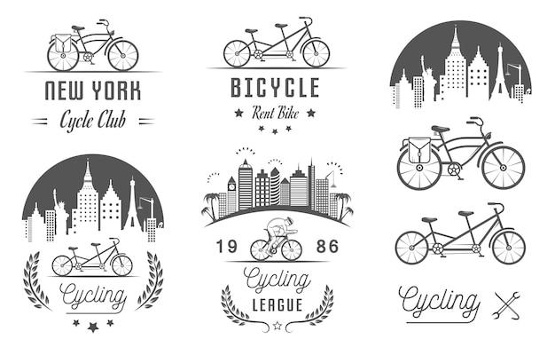 Stellen sie vintage fahrrad- und fahrradzeichen und -abzeichen ein