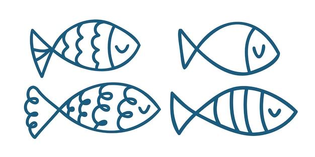 Stellen sie von hand gezeichneten fisch des gekritzels ein. vektor-illustration isoliert auf weißem hintergrund