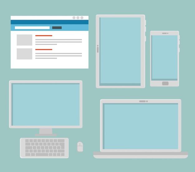 Stellen sie website mit computer und tablet mit smartphone ein