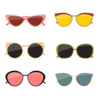 Stellen sie weibliche sonnenbrillen lokalisiert auf einen weißen hintergrund ein. flache illustration.