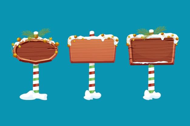 Stellen sie weihnachts-holzschild-verkehrszeichen auf gestreiftem stock mit dekorationsleerem rahmen in der karikatur ein