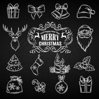 Stellen sie weihnachtshand gezeichnete ikonen ein. Premium Vektoren