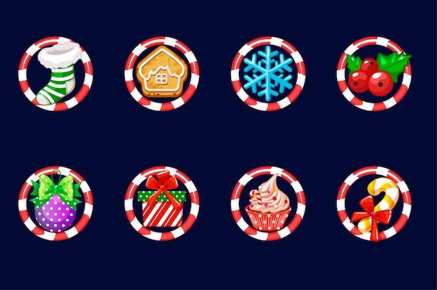 Stellen sie weihnachtsillustrationen ein. neujahrsdekoration. illustration von weihnachten festliche weihnachten isolierte symbole im rahmen.