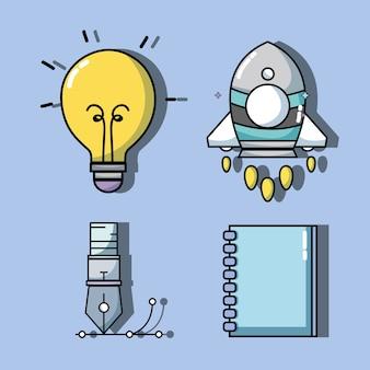 Stellen sie wissenserziehung mit kreativ ein