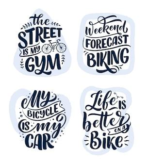 Stellen sie woth schriftzugsslogans über fahrrad für plakat-, druck- und t-shirt-design ein. speichern sie naturzitate.