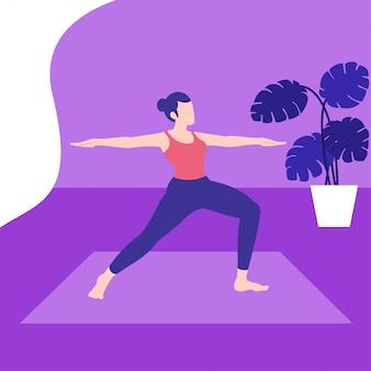 Stellen sie yoga wirft illustration auf