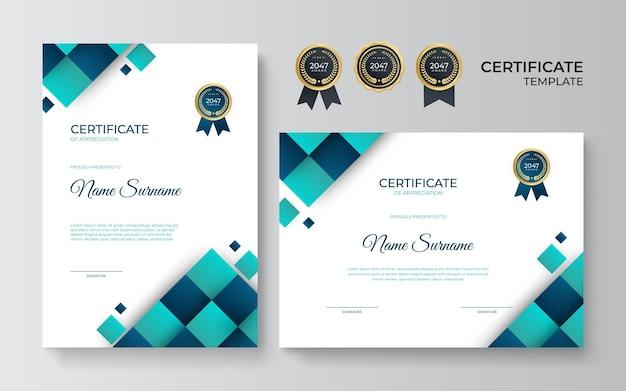 Stellen sie zertifikatsvorlage mit blaugrüner geometrischer dynamischer und futuristischer polygonaler farbe und modernem hintergrund ein. blaues zertifikatsdesign im professionellen stil.