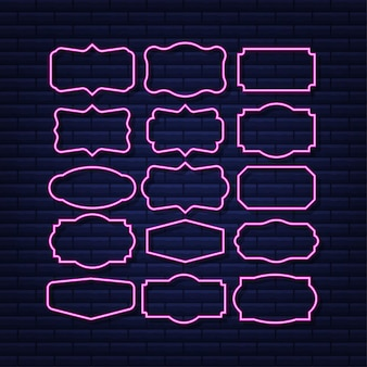 Stellen sie zitatrahmen ein leere vorlage mit druckinformationen design zitiert neon-symbol