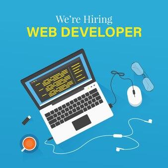 Stellenangebot für webentwickler mit laptop-illustration