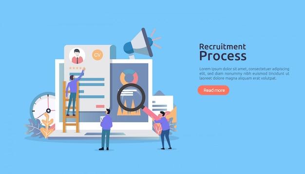 Stellenvermittlung, online-rekrutierung mit personencharakter. agentur interview. wählen sie den wiederaufnahmevorgang.