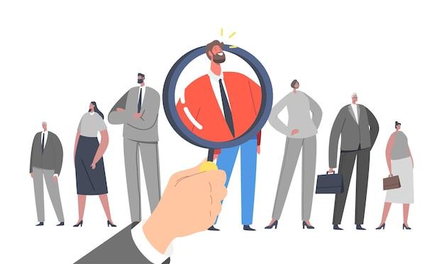 Stellenvermittlung, recruitment-konzept. riesige hand mit lupe wählen sie einen geschäftsmann charakter vieler kandidaten. suche mitarbeiter, head hunting beschäftigung. cartoon-menschen-vektor-illustration
