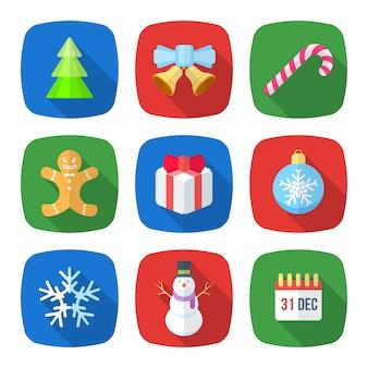 Stellten verschiedene flache designikonen des weihnachtsneuen jahres des vektors mit weihnachtsbaum, klingelglocken, lutscher, lebkuchenmann, geschenkbox, weihnachtsbaumspielzeug, schneeflocke, schneemann, kalenderfeiertag ein