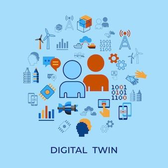 Stellvertretende technologieikonen digital tween eingestellt