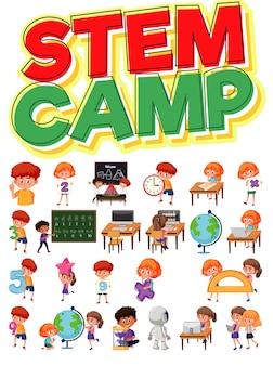 Stem camp logo und satz von kindern