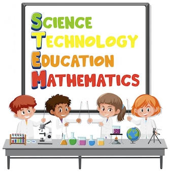 Stem education education logo mit kindern, die wissenschaftler kostüm tragen