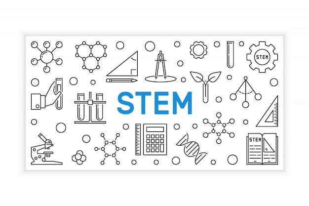 Stem gliederungsbanner. vektor-bildung-illustration