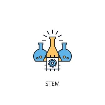 Stem-konzept 2 farbige liniensymbol. einfache gelbe und blaue elementillustration. stem-konzept skizziert symboldesign
