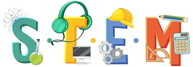 Stem-logo mit symbolelementen für bildung und lernen