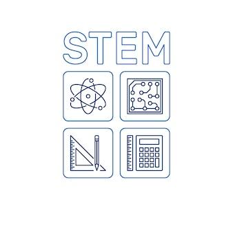 Stem-wort mit symbolen. vektorwissenschafts-entwurfsillustration