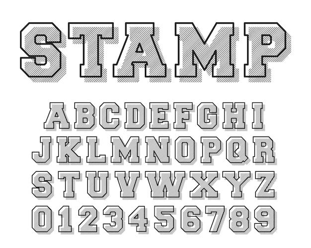 Stempel alphabet schriftvorlage