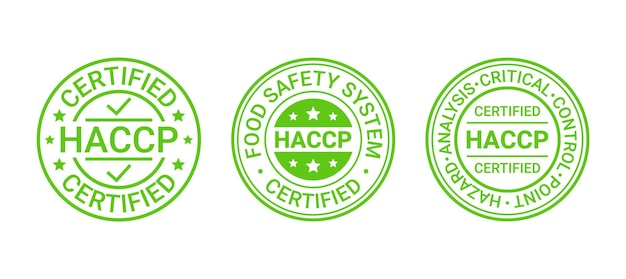 Stempel des lebensmittelsicherheitssystems. haccp-zertifizierter aufkleber. vektor-illustration.