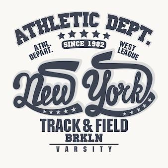 Stempel, new york sport tragen typografie-emblem. Premium Vektoren