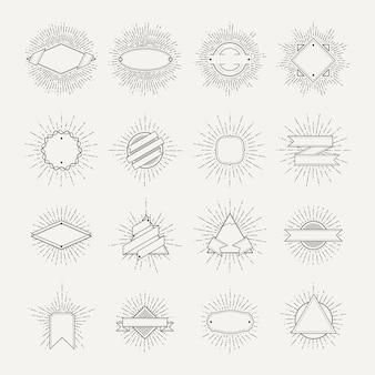 Stempel und abzeichen sammlung. verschiedene formen und sunburst-rahmen. vintage monochrome banner und ve