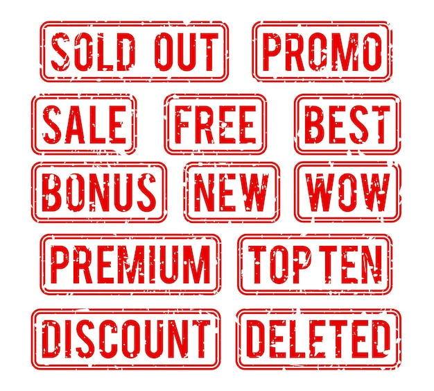 Stempelset. ausverkauft und promo, siegel mit textbonus und verkaufsillustration