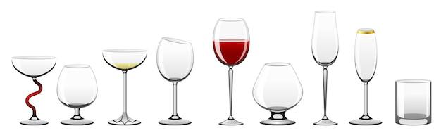 Stemware - realistische vektorisolierte clipart-objekte für verschiedene getränke auf weißem hintergrund. volle, leere gläser für rot-, weißwein, cocktails, cognac, martini, brandi, champagner, tumbler