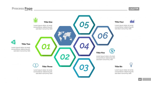 Step chart mit sechs elementen vorlage
