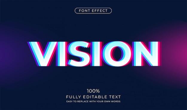Stereoscopic vision text-effekt. bearbeitbarer schriftstil