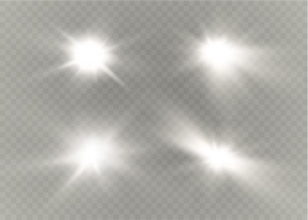 Stern auf einem transparenten hintergrund, lichteffekt, illustration. voller funkeln