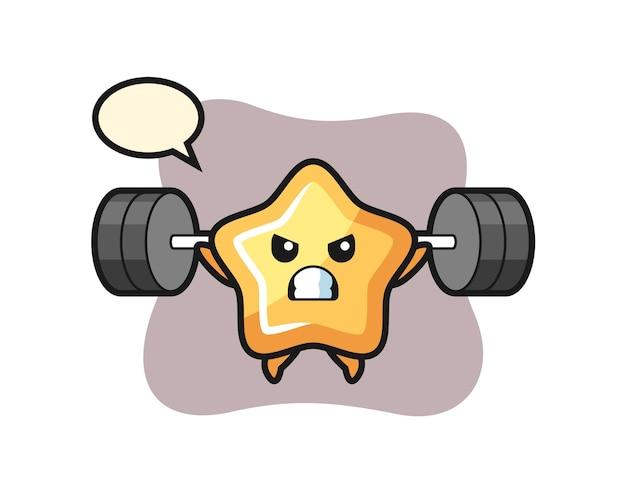 Stern-maskottchen-cartoon mit einer langhantel, süßes design für t-shirt, aufkleber, logo-element