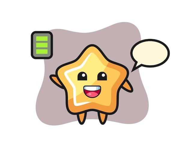 Stern-maskottchen-charakter mit energischer geste, süßem stildesign für t-shirt, aufkleber, logo-element