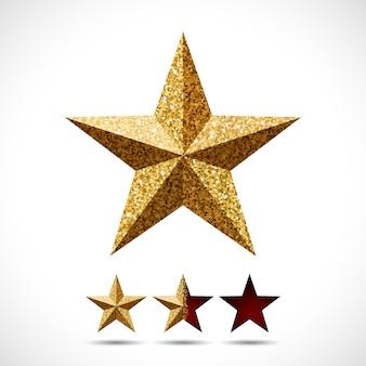 Stern mit glitzerbeschaffenheit und bewertungsschablone