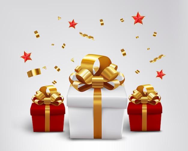 Stern mit konfetti und geschenk für weihnachten