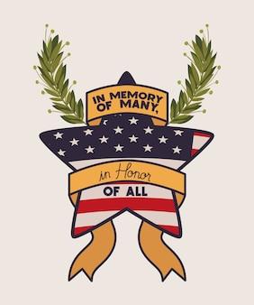 Stern mit kranz und usa-flagge des gedenktagemblems