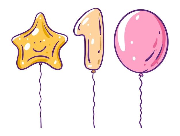 Stern, nummer eins und klassische luftballons. im cartoon-stil. auf weißem hintergrund isoliert.