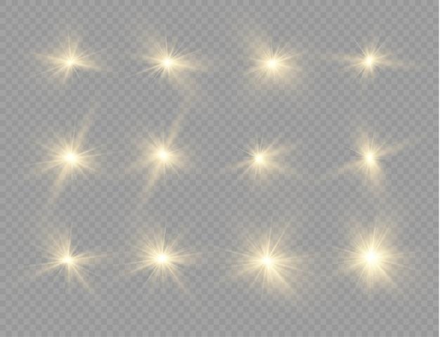 Stern platzte vor brillanz, leuchtender heller stern, leuchtendes licht platzte auf einem transparenten hintergrund.